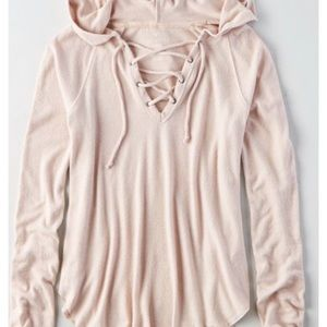 """american eagle pink """"soft and sexy"""" plush hoodie"""